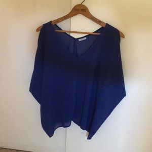 Blue polyester blouse